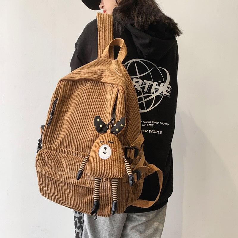 Модный женский вельветовый рюкзак, однотонный школьный рюкзак в полоску в стиле Харадзюку, роскошный рюкзак для девочек-подростков, милый ж...