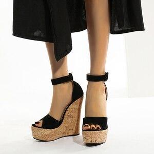 Women Fashion Straw Buckle Open Toe Casual Female Footwear Woman Summer Sexy Wedge Sandals Platform Ladies High Heels Shoes