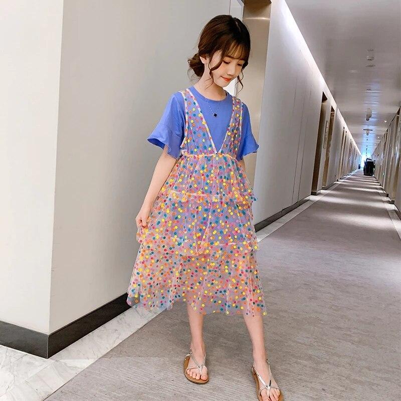 Комплекты летней одежды для девочек, детская футболка + платье в горошек, комплект из 2 предметов для девочек, повседневная одежда для девоче...