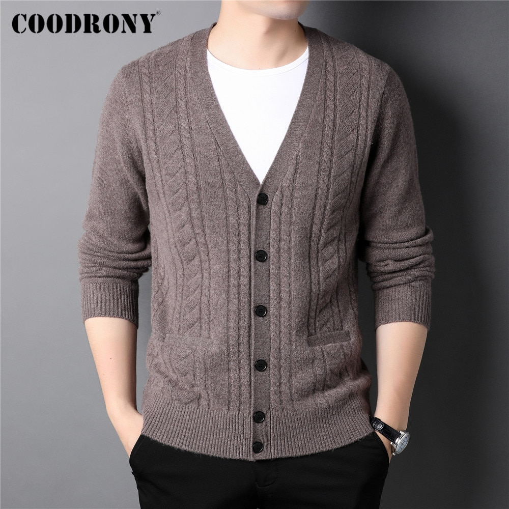 COODRONY New Arrival Thick Warm Winter Sweater Coat Men Clothing Fashion Casual Cashmere Merino Wool Knitwear Cardigan Man C3137