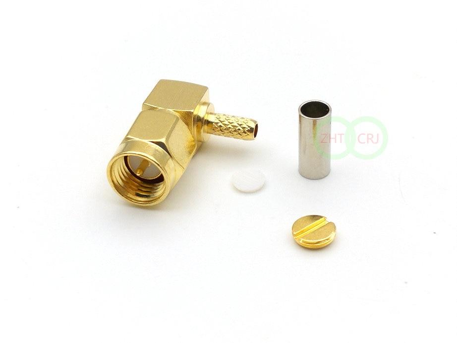 مقبس ذكر SMA ، 1000 قطعة ، محول تجعيد الزاوية اليمنى RG174 RG316 LMR100 RF