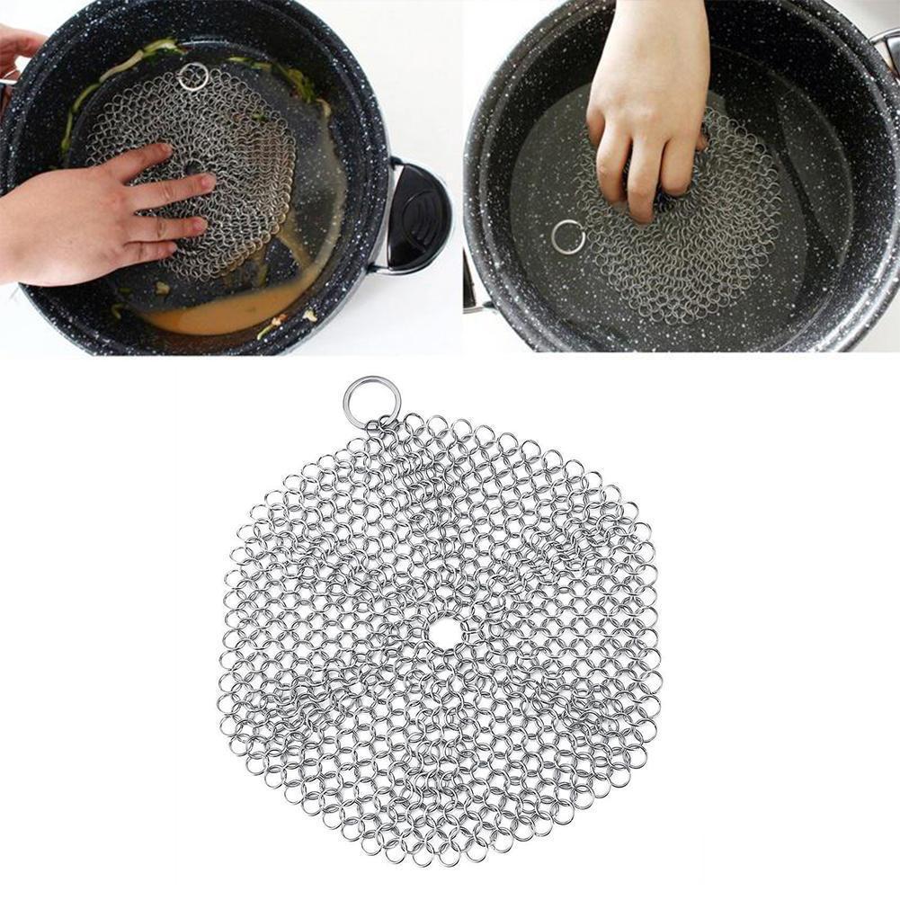 1 pc de aço inoxidável dedo ferro fundido escova corrente escova palma mail lavagem ferramenta cozinha escova purificador j7l5