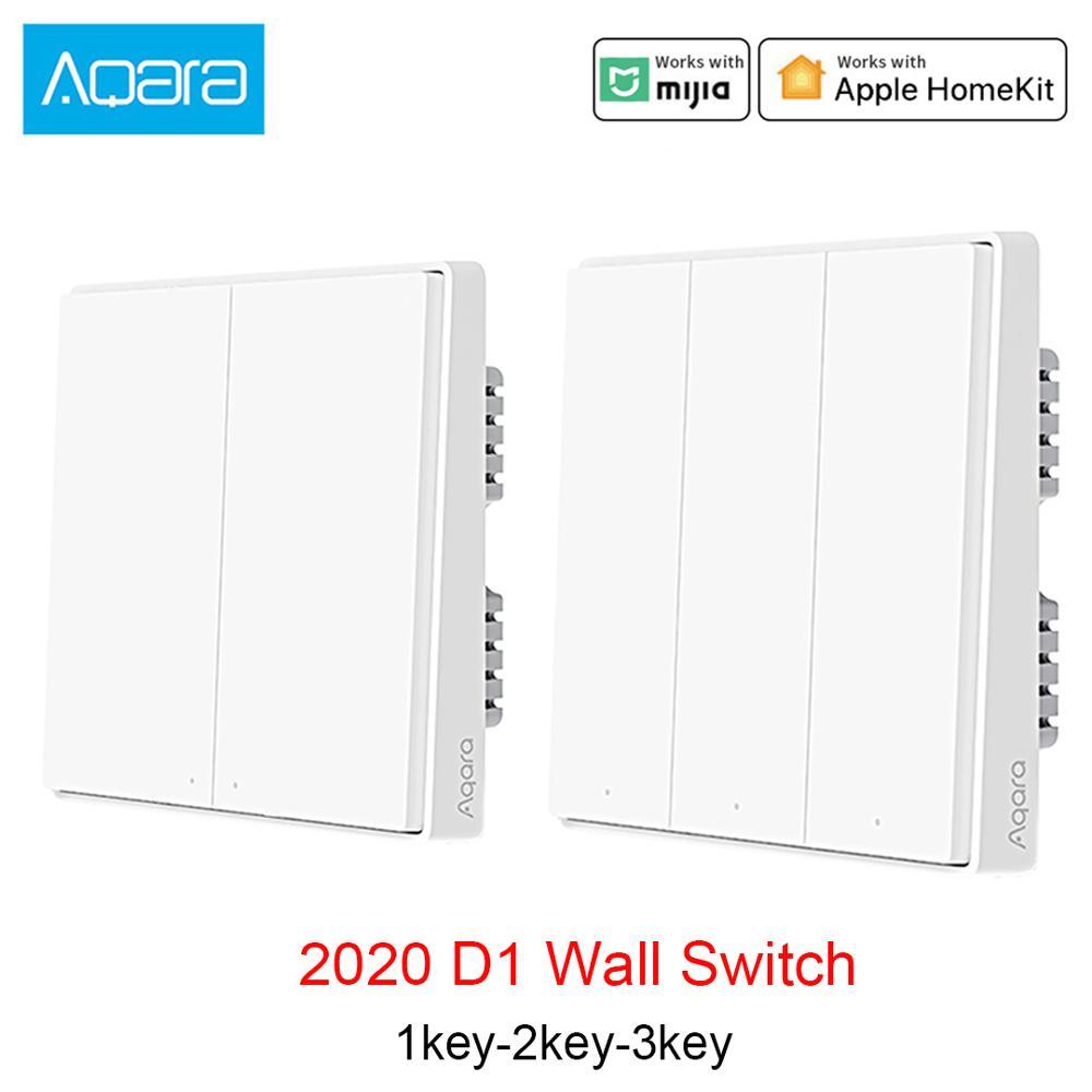D1 aqara inteligente zigbee interruptor de parede zero linha fio fogo wi-fi controle luz sem botão triplo neutro para homekit xiaomi mi casa app