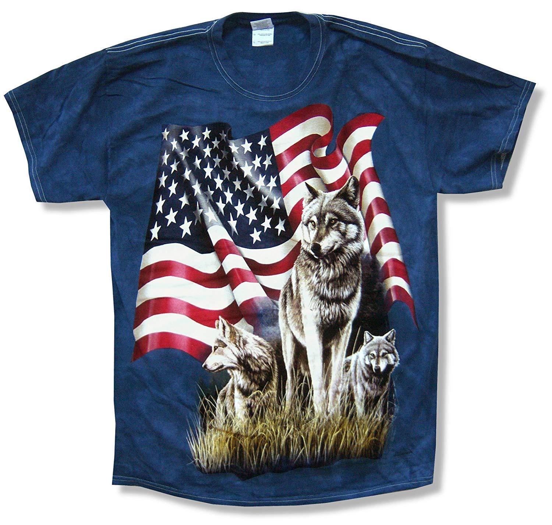 Футболка с принтом «горные волки», флаг США, синий галстук, краситель, новый официальный