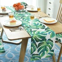 nordic monstera table runner dining table mat plant leaf non slip pads placemat home decor hotel wedding 5 sizes camino de mesa