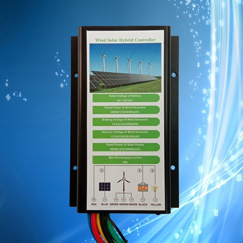 Waterproof Wind Solar Hybrid Controller, 12V for 400W Wind and 500W Solar; 24V for 600W Wind and 1000W Solar, 12/24V Auto Detect