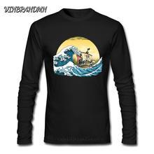 Funny Japan Anime The Great Wave Off Kanagawa T-Shirt Mens Print T Shirt One Piece Manga Tshirt Pirate King Long Sleeves Camisa