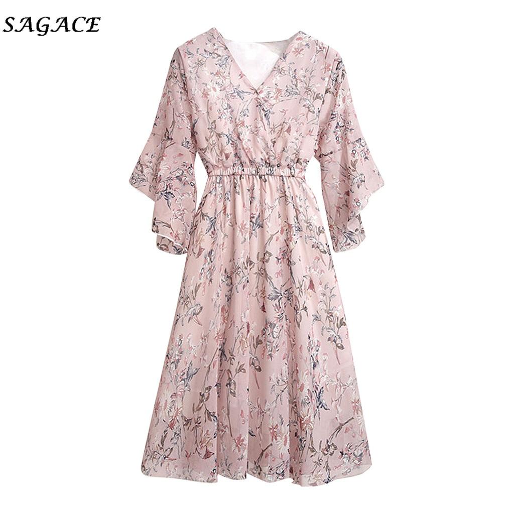 Sagace Kleid Frauen Floral Bedruckte Lose Elastische Taille Kleid Lengan Pendek Flare Bahan Sifon Kurze Schmetterling Hülse Sommer Kleid