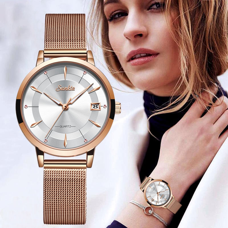 SUNKTA Women Watches Top Brand Luxury Gift Clock Rose Gold Watches For Women Wrist Watch Bracele Montre Femme Relogio Feminino enlarge