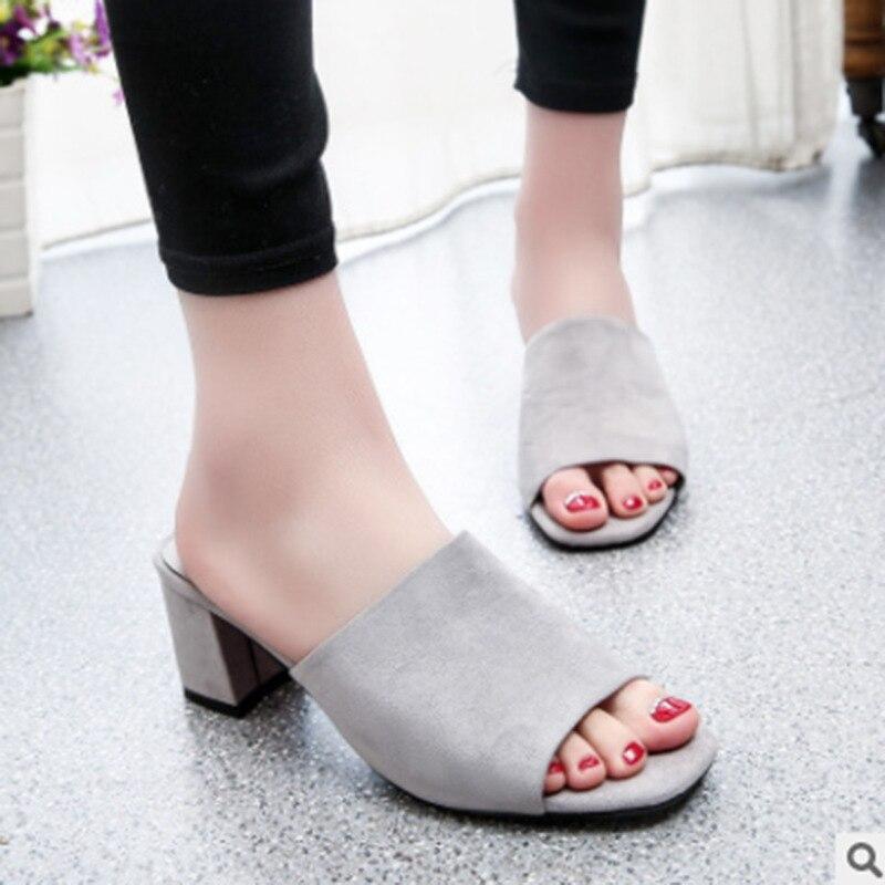 Sandalias de Boca de pescado de tacón medio para mujer, sandalias con cabeza cuadrada de tacón grueso para mujer, zapatos de tacón alto a la moda para verano