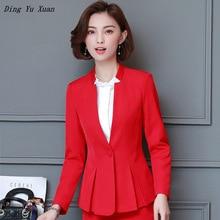 Traje de Ropa de Trabajo de oficina para mujer, negro, azul, rojo, traje Formal de negocios, chaqueta de mujer, camisa, falda, pantalón, ropa elegante