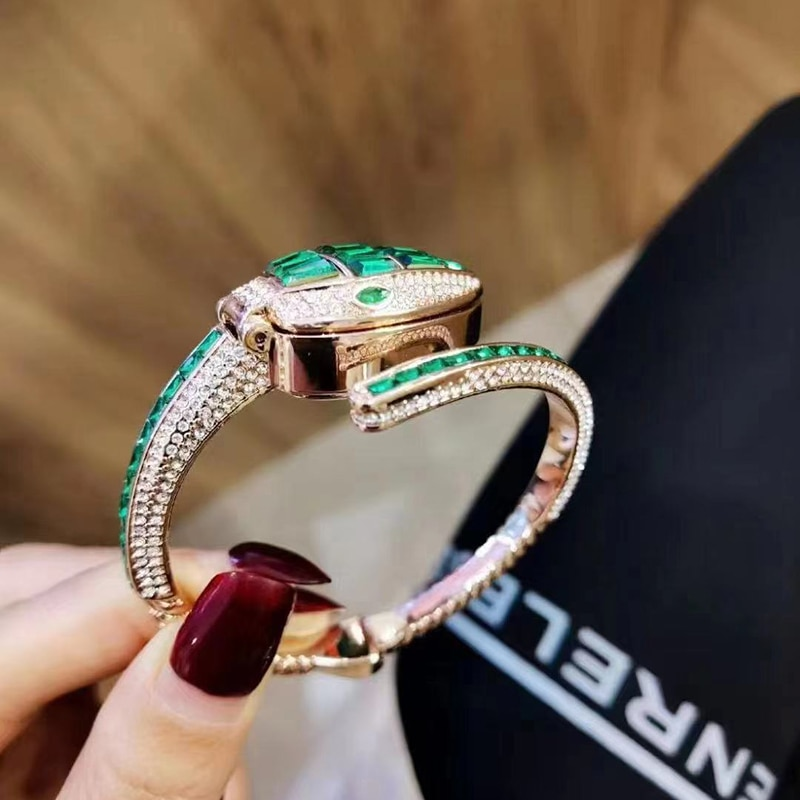 OUPAI 2021 New Arrival Jewery Watch Lady Quartz Luxury Diamond Watch Emerald Green Watch Fashion and Elegant Waterproof Watch enlarge