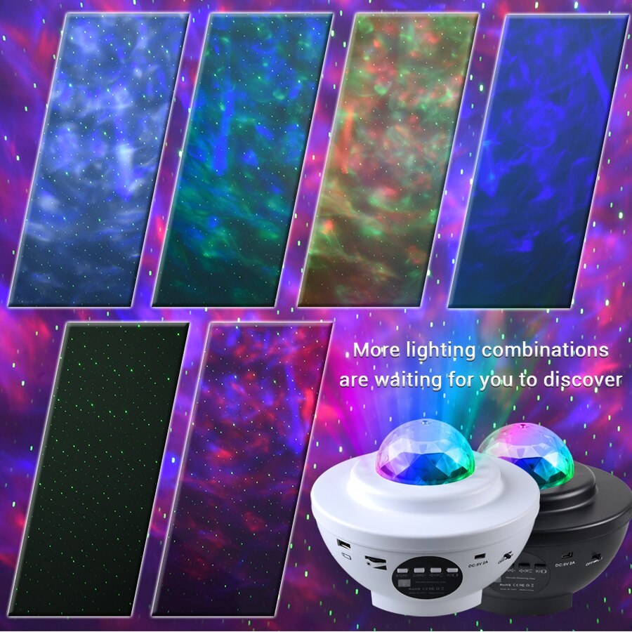 2021 الملونة المرصعة بالنجوم السماء غالاكسي العارض ضوء الليل الطفل بلوتوث USB مشغل موسيقى ستار ليلة ضوء رومانسية الإسقاط