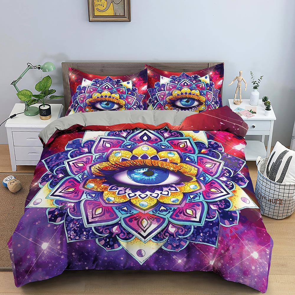 ثلاثية الأبعاد مطبوعة كبيرة العين نمط طقم سرير حاف الملونة مجموعة غطاء الملكة الملك الفاخرة غطاء لحاف ل ديكور غرفة نوم المنسوجات المنزلية