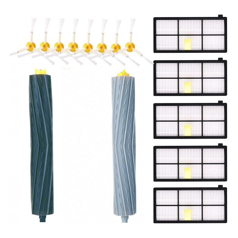 Caliente TOD-Kit de accesorios para IRobot Roomba 981, 980, 960, 895, 886, 870, 865, 866, 800 de la serie 900 reemplazo de piezas 8 cepillos laterales 5 Fil