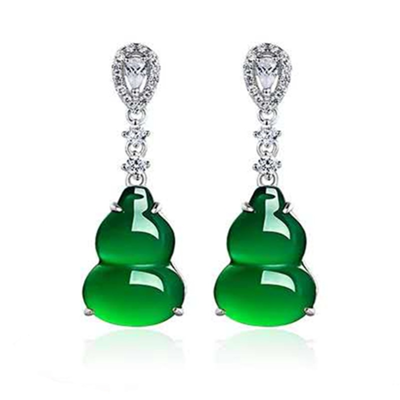 Natural verde jade calcedônia cabaça brincos gota 925 prata chinês esculpida charme jadeite jóias moda amuleto para presentes femininos