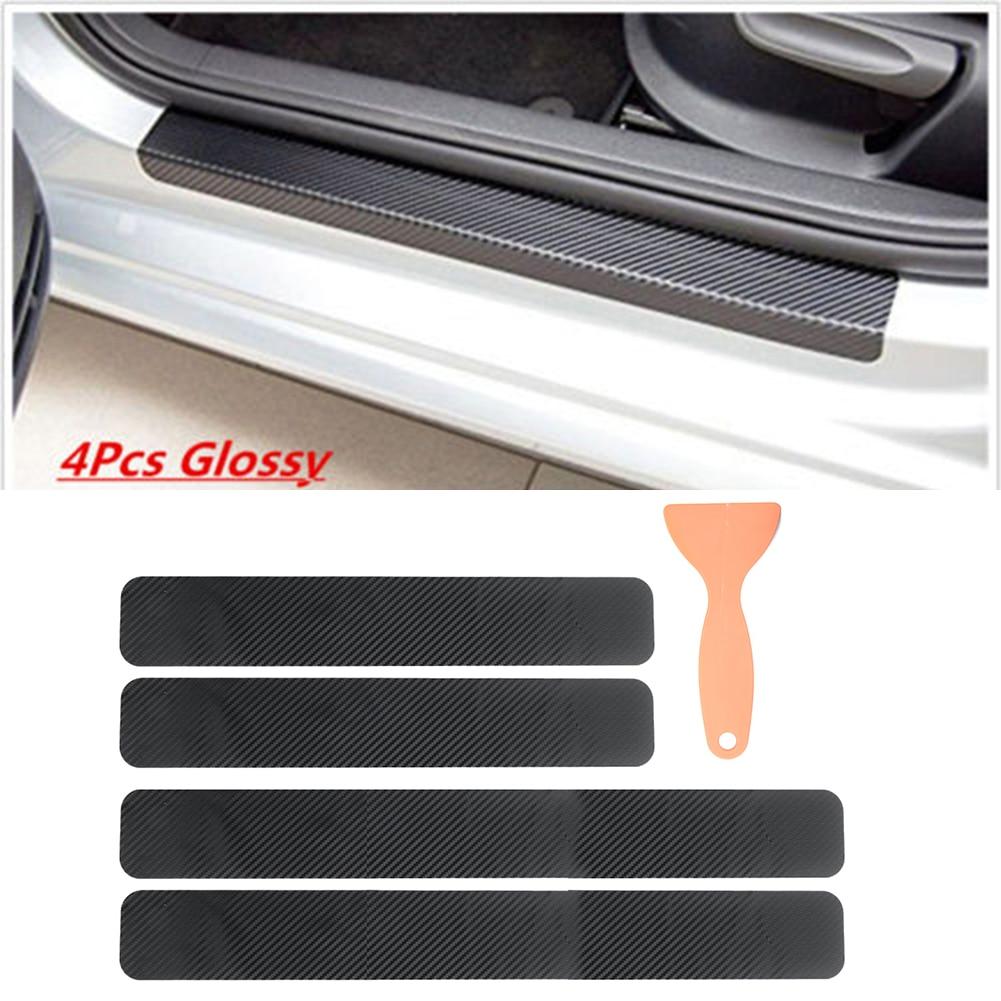 4 * pegatinas protectoras de Panel Umbral de puerta placa de desgaste de fibra de carbono 3D para coche trasero delantero