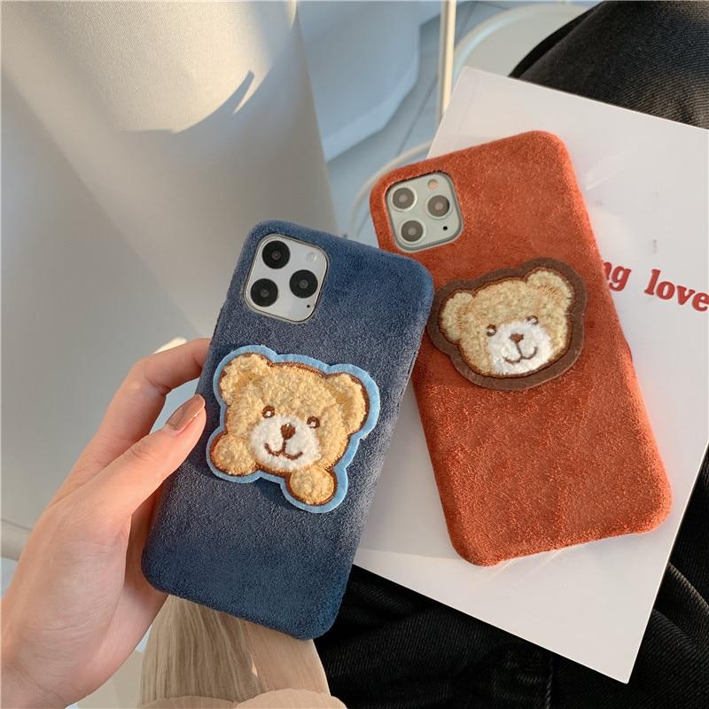 Funda de teléfono móvil bordada de dibujos animados peludos oso lindo para iphone 11 pro max xs max xr xs x 7 8 plus