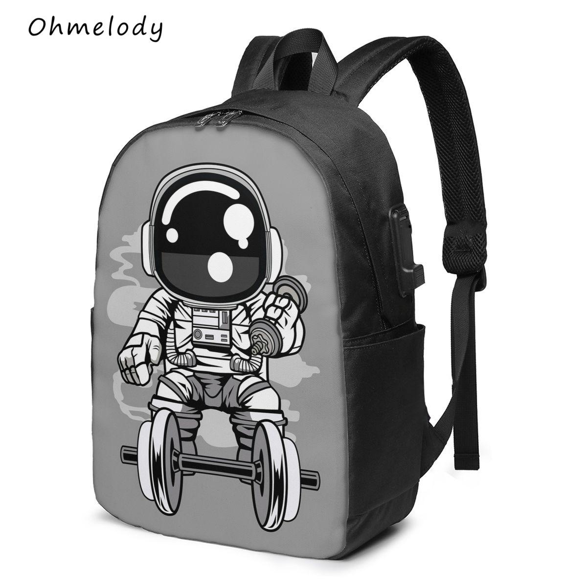 Cartoon Astronaut Multipurpose 17in Laptop Backpack Water Resistant Durable Middle School College Ba