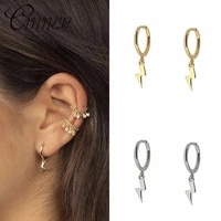punk lightning earrings 100 925 sterling silver hanging lightning stud earrings for women personality party jewelry gift