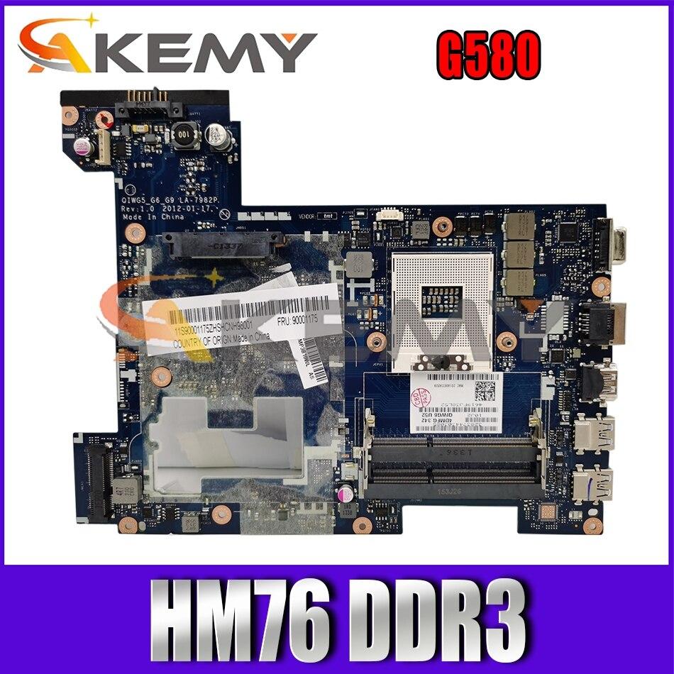 Akemy QIWG5_G6_G9 LA-7982P اللوحة لينوفو G580 اللوحة المحمول 90001175/90000119 PGA989 HM76 DDR3 100% اختبار العمل