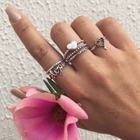 classic trendy antique silver color heart cross rings for women 6pcsset vintage geometric joint knuckle charm rings set jewelry