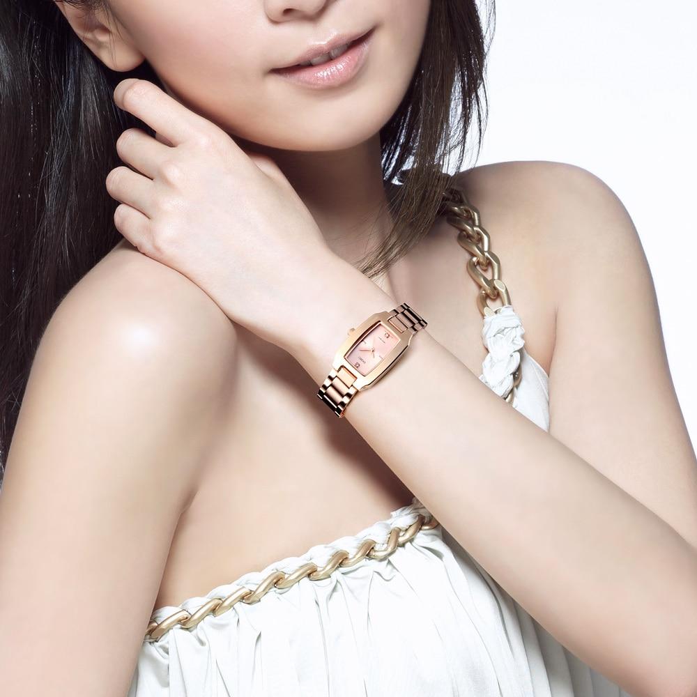 SKMEI Brand Luxury Women Watch Rectangle Dial Elegant Quartz Japanese Lady Wristwatches Golden Stainless Steel Bracelet Watches enlarge