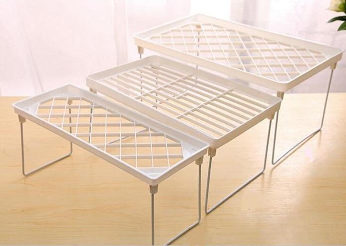 1 шт. стеллаж для хранения кухни складной держатель Штабелируемый Органайзер кухонный шкаф для ванной комнаты экономное место P7Ding