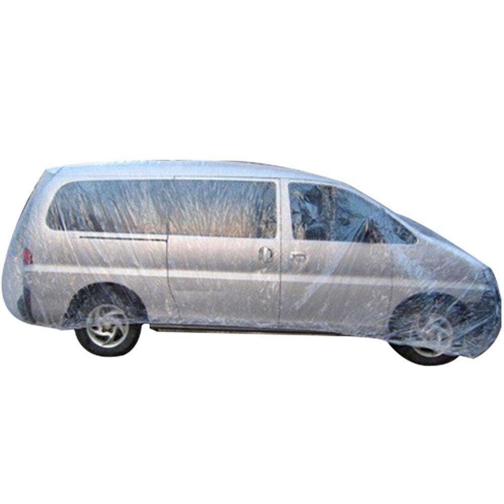 M L LL Universal Clear Plastic Temporary Car Cover Rain Dust Garage Cover Disposable Car Rain Dustproof Car Cover