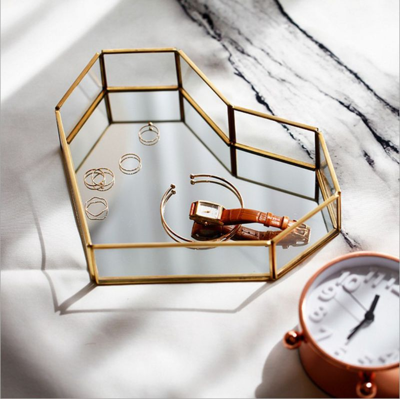 Mirror Gold Octagonal Square Jewelry Tray Dish Plate Decor Tray Jewelry Display