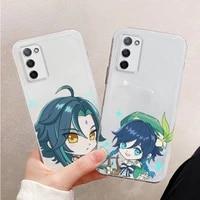 genshin impact game cute cartoon phone case transparent for oppo r reno 9 11 17 3 4 s plus pro 15x k7