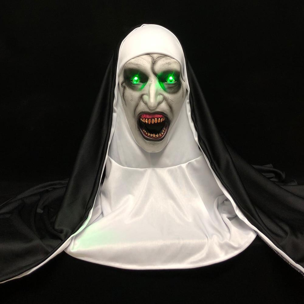 LED الرعب راهبة قناع تأثيري مخيف اللاتكس أقنعة مع الحجاب مصباح ليد هالوين حفلة الدعائم ديلوكس