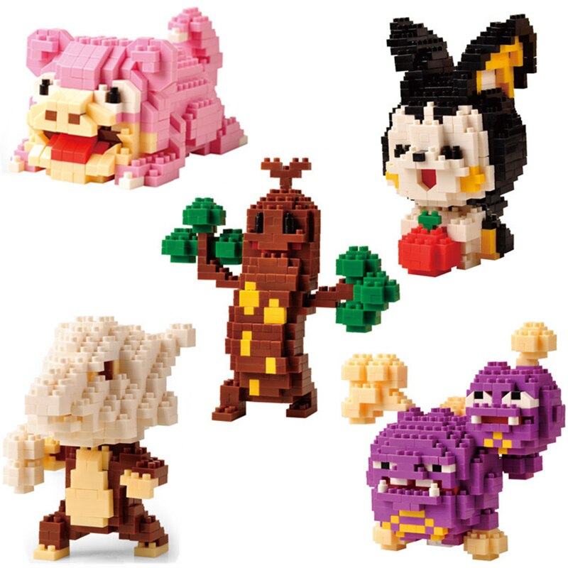 Mini bloques de construcción Legoinglys DIY 3D Micro juguete educativo de bloques para Pokemones Turtwi Caterpie Charmander Torchic Piplup