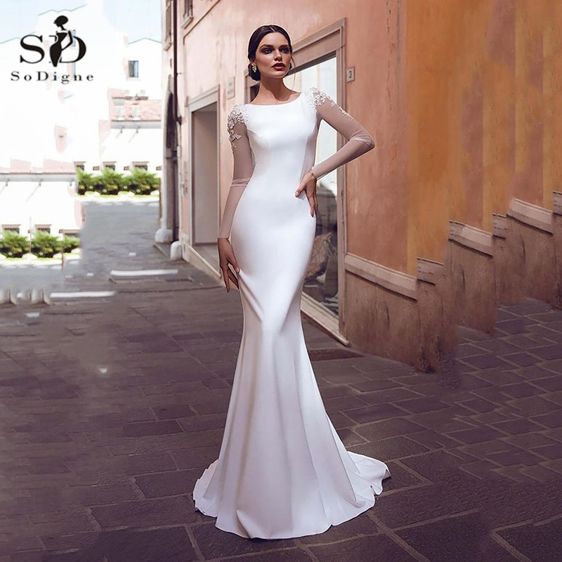 SoDigne Satin Mermaid Wedding Dress Boho Lace Appliques Bride Dresses Long Sleeves Simple Gowns Vestidos De Novia