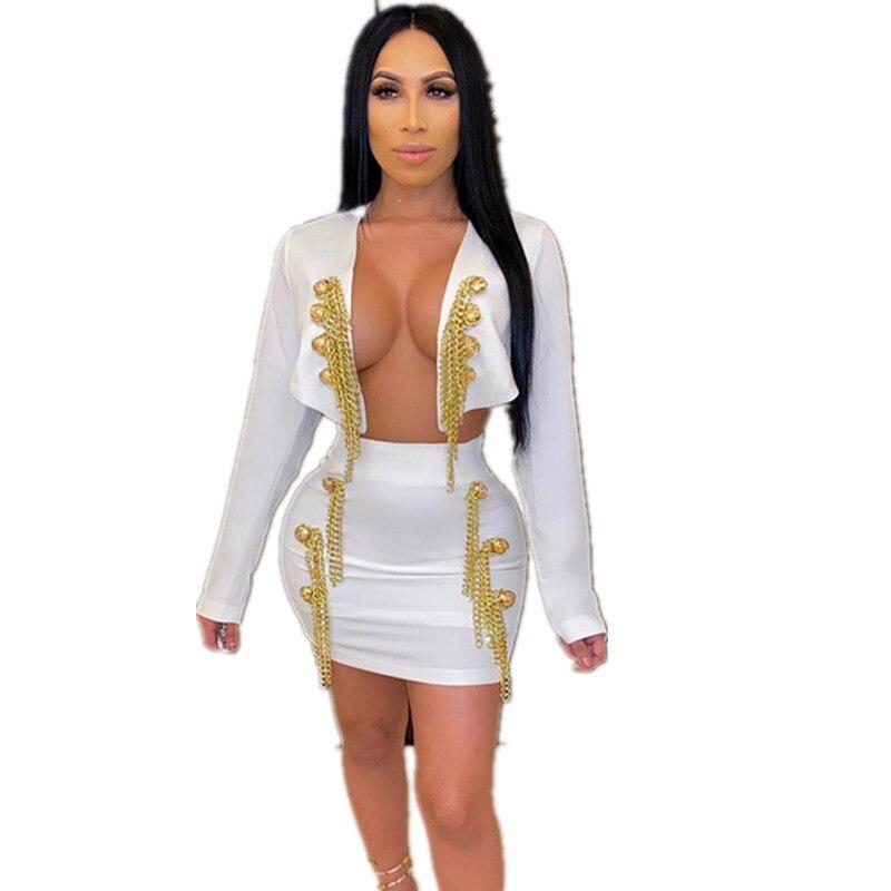 2020 جديد وصول شارع العليا 2 قطعة مجموعة النساء الملابس مجموعة أسود أبيض سلسلة شرابة ضمادة المشاهير معطف + تنورة