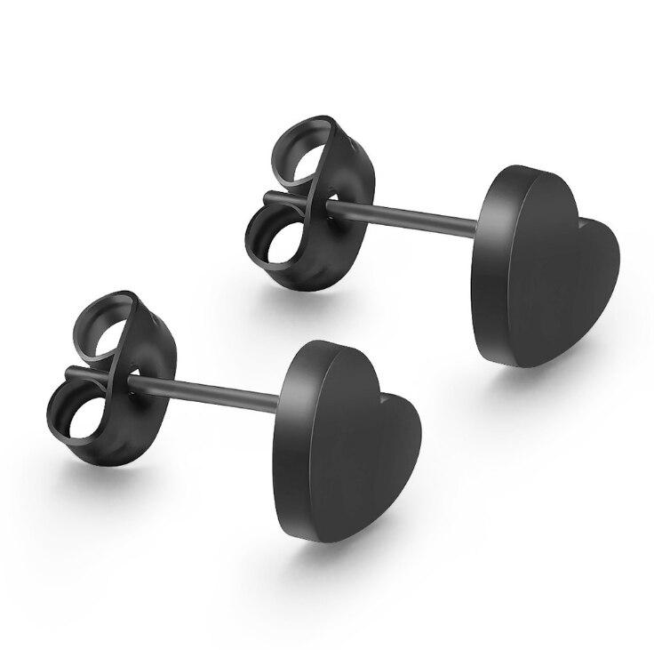 C002    Love Heart Design Earring Studs Black Color Elegant Fashion Women Jewelry Girl Gifts