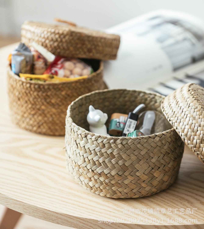 12.5*8 cm cestas de armazenamento de bambu artesanal lanche vime seagrass barriga jardim vaso de flores plantador cesta caixa de acabamento