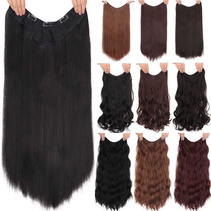 DIANQI-وصلات شعر صناعية طويلة وناعمة ، قطعة شعر صناعية مع 5 مشابك ، شعر بني أسود مظلل 24 بوصة للنساء