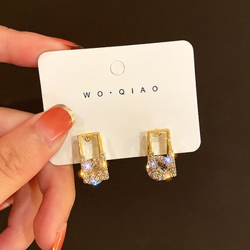 New Popular Design Geometric Square Crystal Earrings for Women Girl Charm Jewelry S925 Needle Shiny AAA Zirconia Stud Party Gift
