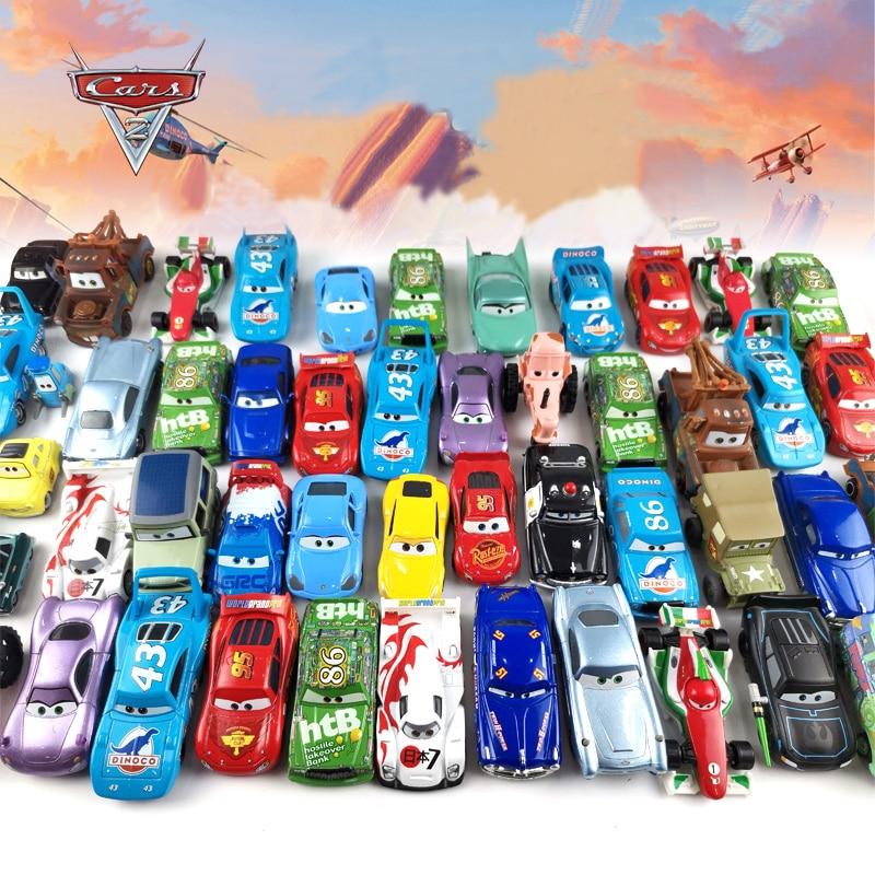 Disney Pixar Cars 2 3 Lightning McQueen Jackson Storm Doc Hudson Mater 1:55 Diecast Metal Alloy Mode
