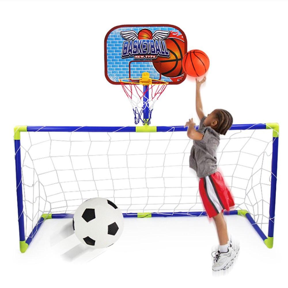 2 em 1 crianças ao ar livre equipamento de brinquedo futebol objetivo basquete stands esportes brinquedos para crianças para esportes