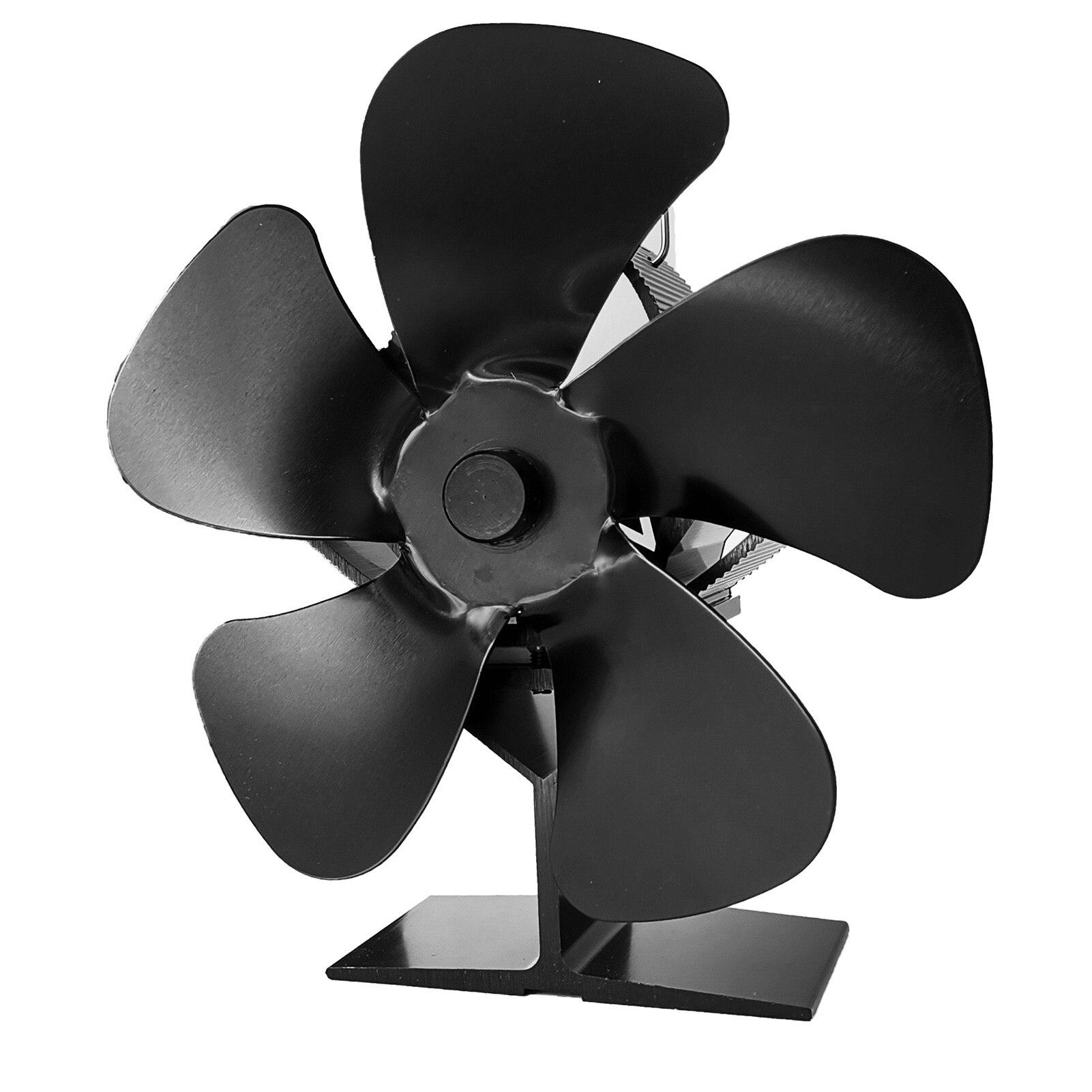 مدفأة سوداء ، 5 شفرات ، موقد يعمل بالحرارة ، لوح خشبي ، مدفأة منزلية هادئة ، توزيع الحرارة
