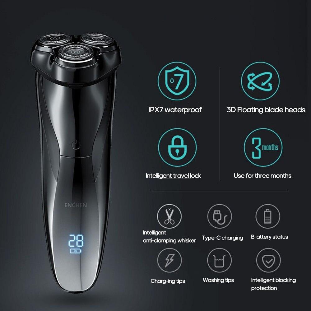 Enchen 3D Men Electric Shaver Razor BlackStone3 IPX7 Waterproof Wet & Dry Dual Use LCD 3D Smart Control Shaving Beard Machine enlarge