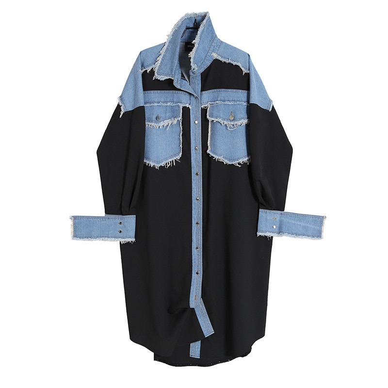 2021 New Women Clothing Fashion Denim Dress Autumn Style Casual Vestidos Patchwork Loose Clothing Goods In Stock
