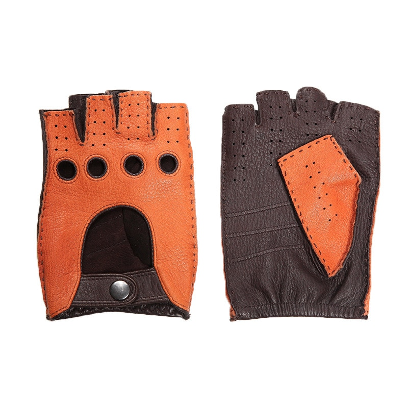 Genuine Leather Men's Half Finger Gloves Anti-Slip Driving Breathable High Quality Real Deerskin Gloves Male Brown DQ0132M safety inxs ridding gloves mac836 high quality riding half finger gloves solid anti slip breathable comfort safety gloves