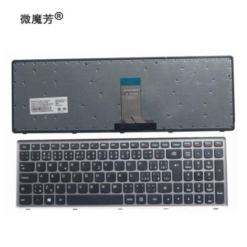 SL eslovaco para Lenovo Ideapad Z710 U510 quadro teclado portátil de prata