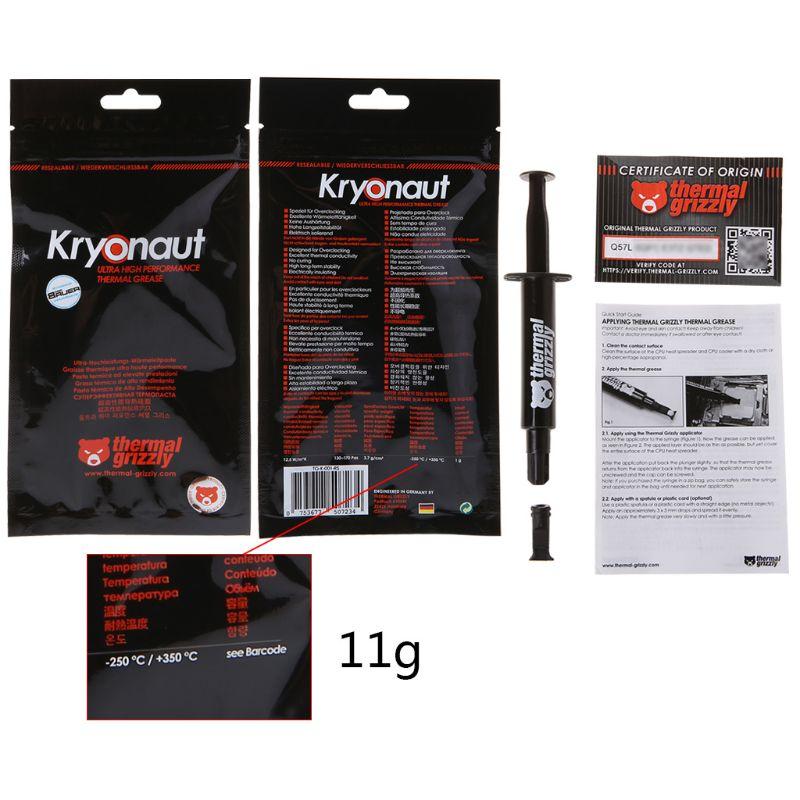Thermische Grizzly Kryonaut Cpu Processor Heatsink Fan Koelpasta Koeling Koelpasta Cooler Paste 12 5 W Mk 1g 5 5g 11g Ventilatoren En Koeling Aliexpress