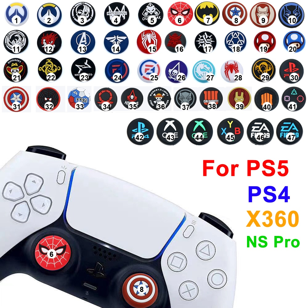 50colos بالجملة تحكم الإبهام سيليكون عصا غطاء قبضة ل PS4 PS5 XBOX One 360 X S التبديل برو تحكم ملحق ألعاب
