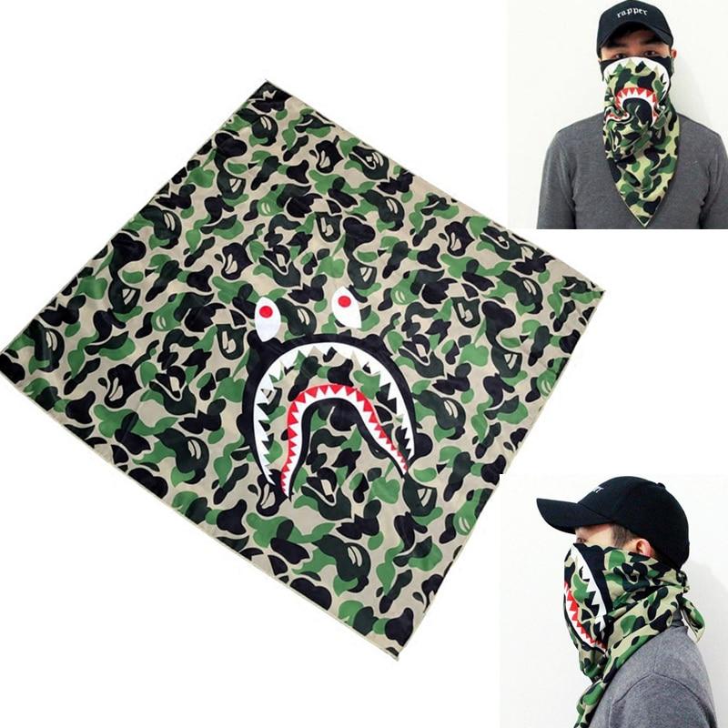 Camouflage Shark Mask kerchief Square scarf Riding cover Hiphop Street Dance Men women coverchief headcloth babushka camo ape