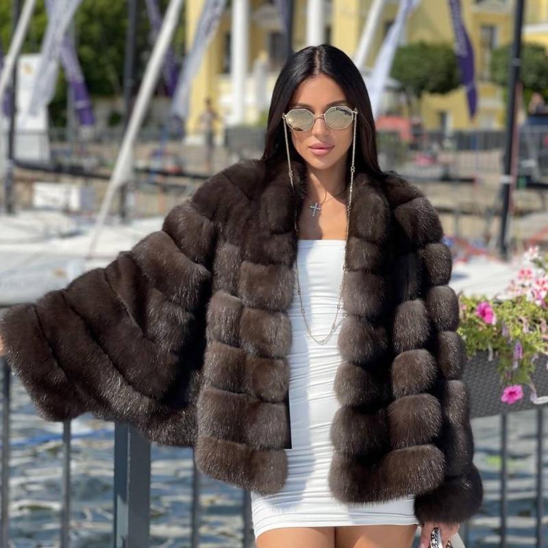 FURSARCAR 2021 جديد وصول ريال فوكس الفراء الطبيعي سترة الفراء الفاخرة الإناث ضئيلة سميكة الدافئة معطف الشتاء معطف نمط غير رسمي